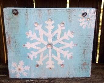 snowflake painting, snowflake decor, winter sign, winter decor, snowflake sign, signs, country christmas, christmas decor, barnwood decor,