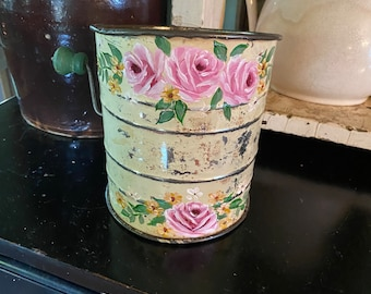 Vintage flour sifter with pink roses, pink roses decor, shabby chic decor, vintage kitchen decor, hp roses, country decor, country kitchen