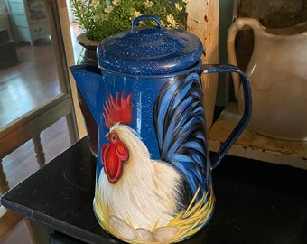 Vintage enamelware coffee pot with hand painted hen, rooster decor, rooster kitchen decor, chicken decor, hen on a nest, country kitchen,