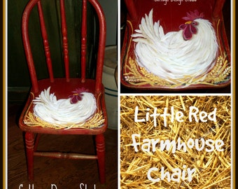 Childs Red Rooster Chair, Farmhouse Decor, Farmhouse Chair, Rooster  Painting, Rooster Kitchen