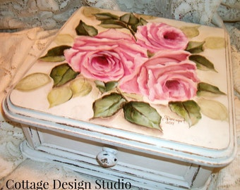 shabby roses glove box drawer, pink roses decor, cottage decor, country chic decor, chic decor, hand painted roses, vintage roses, roses,