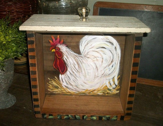 Farmhouse Rooster Shelf Rooster Kitchen Country Decor Farm Etsy
