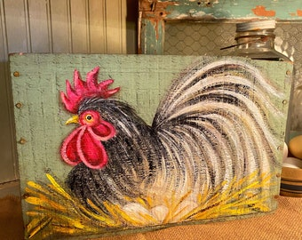 Rooster decor, rooster box, vintage wood box, rooster art, rooster painting on box, rooster kitchen decor, chicken coop decor, hen on a nest