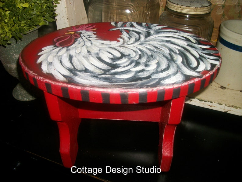 rooster kitchen rooster decor red rooster stool red stool country kitchen decor chic, farmhouse decor vintage stool,little red stool