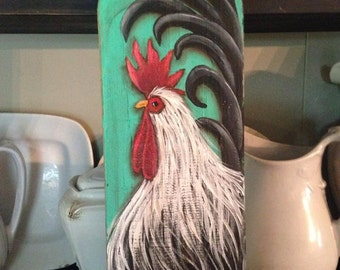 rooster wall decor, rooster kitchen decor, rooster sign, rooster painting, chicken coop decor, farmhouse decor, country chic decor,chicken,
