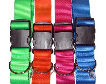 "Solid Color Nylon Wide Dog Collar | 1.5"" Wide Dog Collar 