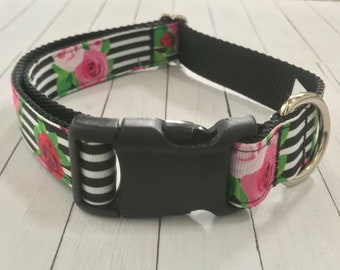 "1"" Striped Rose Large Dog Collar 