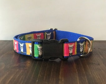 Hipster Llama Medium Dog Collar | Martingale Collar | Quick Release Collar | Dog Leash | Dog Harness | Adjustable Dog Collar