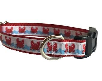 Crab Small Dog Collar | Beach Small Dog Collar | Puppy Collar | Small Dog Leash | Small Dog Harness | Adjustable Dog Collar