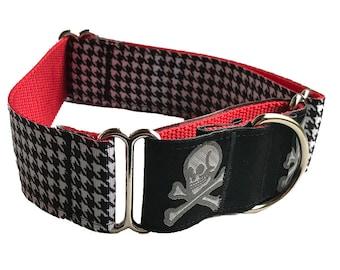 Houndstooth Skull & Crossbones Wide Martingale Collar   Pirate Skeleton Martingale Collar   Big Dog Collar