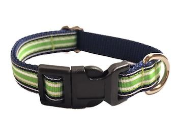 Green & Navy Striped Small Dog Collar | Beach Small Dog Collar | Puppy Collar | Small Dog Leash | Small Dog Harness | Adjustable Dog Collar