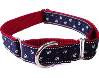 "1"" Navy Anchor Nautical Large Dog Collar 