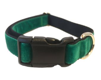 Green Velvet Large Dog Collar | Quick Release Collar | Martingale Collar | Large Dog Collar | Large Dog Leash | Large Harness