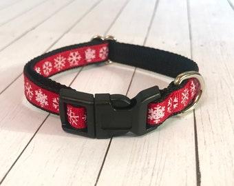 Red Snowflake Small Dog Collar | Puppy Collar | Small Dog Leash | Small Dog Harness | Adjustable Dog Collar