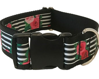 "Rose Stripe Wide Dog Collar | 1.5"" Wide Quick Release Collar 