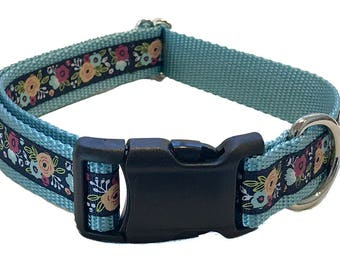 """1"""" Blue Floral Large Dog Collar 