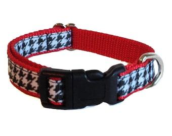 Houndstooth Small Dog Collar | Bama Small Dog Collar | Puppy Collar | Small Dog Leash | Small Dog Harness | Adjustable Dog Collar