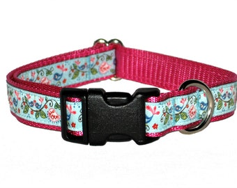 Love Birds Medium Dog Collar | Martingale Collar | Quick Release Collar | Dog Leash | Dog Harness | Adjustable Dog Collar