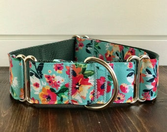 "Turquoise Floral Wide Dog Collar | 1.5"" Wide Dog Collar 