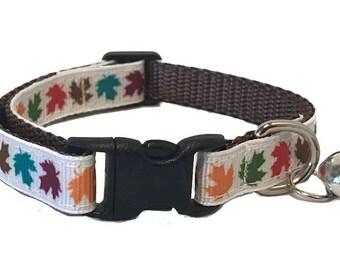 Fall Leaves Cat Collar | Autumn Cat Collar | Breakaway Cat Collar | Kitten Collar | Safety Collar | Adjustable Cat Collar | Fat Cat Collar