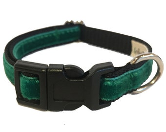 Green Velvet Small Dog Collar | Puppy Collar | Small Dog Leash | Small Dog Harness | Adjustable Dog Collar