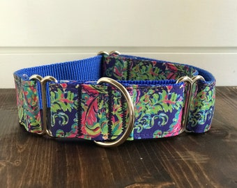 "1.5"" Blue Lilly Inspired Dog Collar Buckle or Martingale"