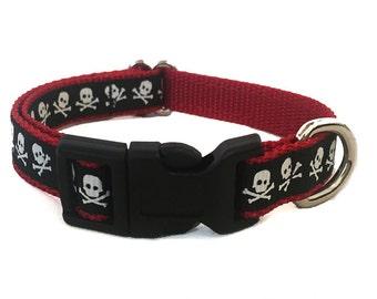 Skull and Crossbones Small Dog Collar | Pirate Small Dog Collar | Puppy Collar | Small Dog Leash | Small Dog Harness | Adjustable Dog Collar