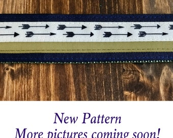 "1.5"" Navy & Olive Arrow Dog Collar Buckle or Martingale"