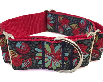 "Navy and Red Floral Wide Dog Collar | 1.5"" Wide Quick Release Collar 
