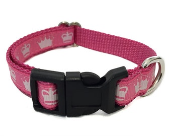 Pink Princess Crown Small Dog Collar | Puppy Collar | Small Dog Leash | Small Dog Harness | Adjustable Dog Collar