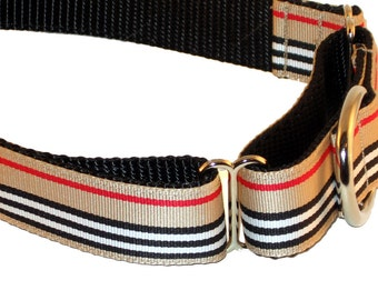 "1"" Preppy Striped Dog Collar Buckle or Martingale"