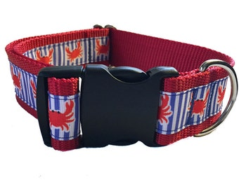 "Red Crab Wide Dog Collar | 1.5"" Wide Quick Release Collar 