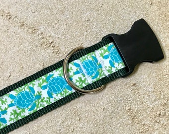 """Turtle Wide Dog Collar   1.5"""" Wide Quick Release Collar   Wide Martingale Collar   Big Dog Collar"""