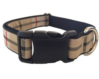 "1"" Preppy Plaid Large Dog Collar 