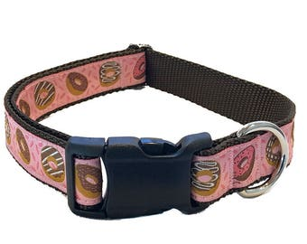 """1"""" Donuts Pink Large Dog Collar 