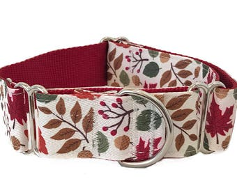 """Autumn Leaves Wide Dog Collar   1.5"""" Wide Quick Release Collar   Wide Martingale Collar   Big Dog Collar"""