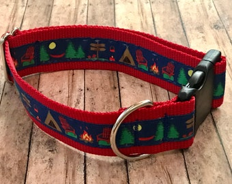 Campsite Wide Dog Collar | Wide Dog Collar | Wide Quick Release Collar | Wide Martingale Collar | Big Dog Collar