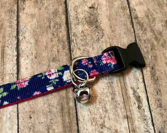Pretty Rose Cat Collar | Breakaway Cat Collar | Kitten Collar | Safety Collar | Adjustable Cat Collar | Fat Cat Collar
