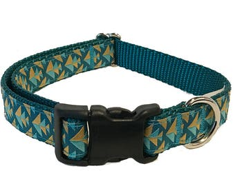 Teal Modern Medium Dog Collar | Martingale Collar | Quick Release Collar | Dog Leash | Dog Harness | Adjustable Dog Collar