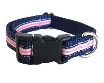 Pink and Navy Striped Medium Dog Collar | Martingale Collar | Quick Release Collar | Dog Leash | Dog Harness | Adjustable Dog Collar