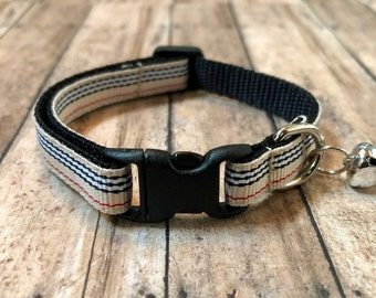 Preppy Striped Cat Collar | Breakaway Cat Collar | Kitten Collar | Safety Collar | Adjustable Cat Collar | Fat Cat Collar