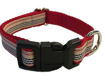 Preppy Striped Small Dog Collar | Puppy Collar | Small Dog Leash | Small Dog Harness | Adjustable Dog Collar
