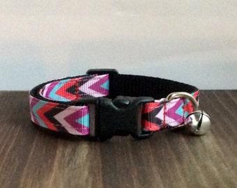 Boho Chevron Cat Collar | Breakaway Cat Collar | Kitten Collar | Safety Collar | Adjustable Cat Collar | Fat Cat Collar