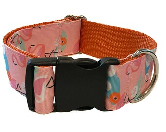 "Pink Flamingo Wide Dog Collar   1.5"" Wide Quick Release Collar   Wide Martingale Collar   Big Dog Collar"