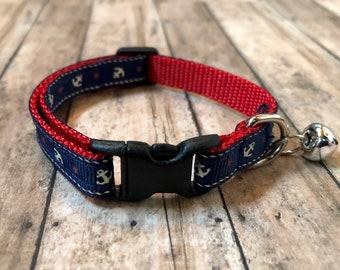 Navy Anchor Cat Collar | Nautical Cat Collar | Breakaway Cat Collar | Kitten Collar | Safety Collar | Adjustable Cat Collar | Fat Cat Collar