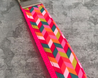 Pink Herringbone Key Fob