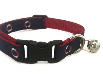 Nautical Cat Collar | Beach Cat Collar | Breakaway Cat Collar | Kitten Collar | Safety Collar | Adjustable Cat Collar | Fat Cat Collar