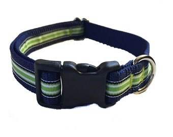 Green and Navy Striped Medium Dog Collar | Martingale Collar | Quick Release Collar | Dog Leash | Dog Harness | Adjustable Dog Collar