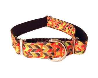 "1"" Fall Herringbone Large Dog Collar | Quick Release Collar | Martingale Collar | Large Dog Leash | Large Harness"