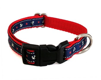 Navy Anchor Small Dog Collar | Nautical Small Dog Collar | Puppy Collar | Small Dog Leash | Small Dog Harness | Adjustable Dog Collar